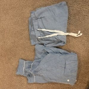 Forever 21 White Blue Candy Striped Pj Set Size S